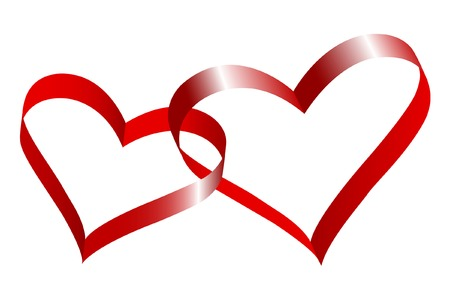 Two linked hearts of red ribbon.