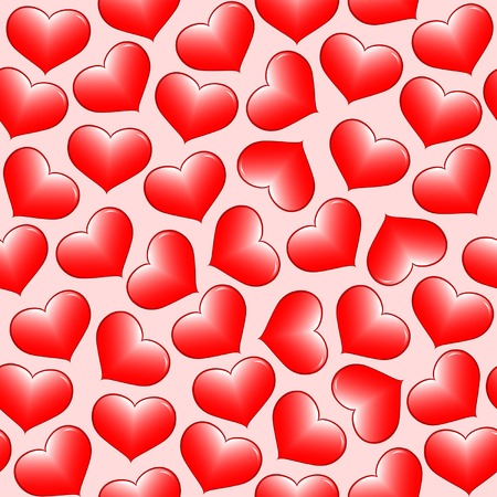 Seamless vector wallpaper of red hearts. Vector