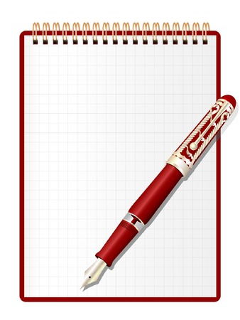 Open red notepad and elegant ink pen. Vector