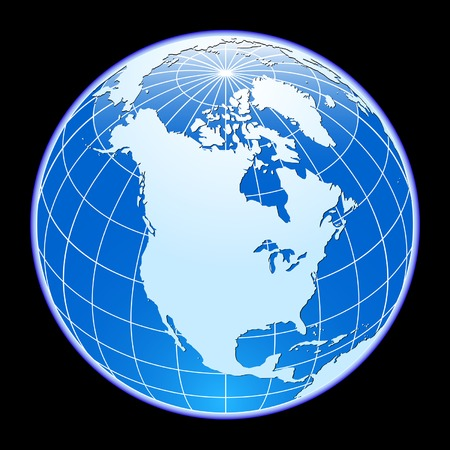 north america: Blue vector globe. North America. Illustration