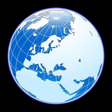 meridian: Blue vector globe. Eurasia.