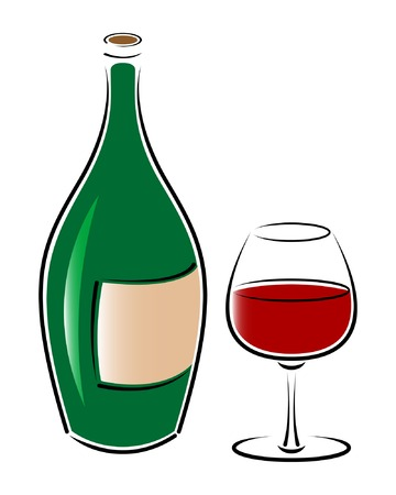 Bottle and  glass of red wine. Vector