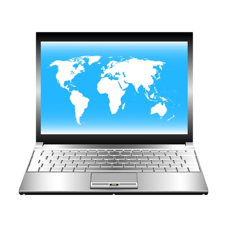 Vector image of laptop with world map on screen. Vector