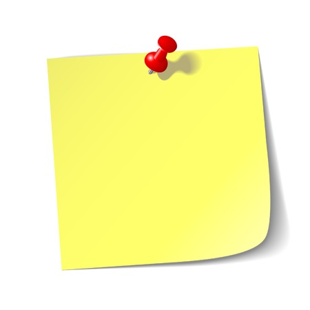 Yellow reminder note with red pin. Vector