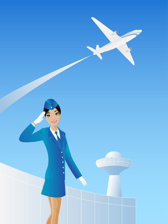 Slim stewardess on the airport background with the space for advert. Vettoriali