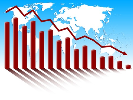 Business diagram of decrease on the background of world map. Vector