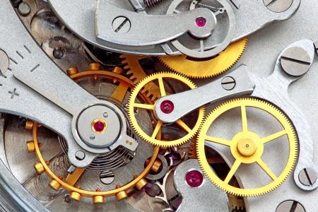 Closeup metalu zegar działa. Zdjęcie Seryjne