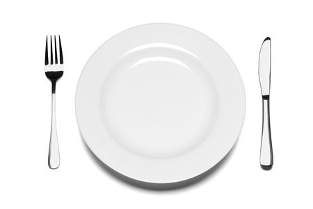 Empty plate with fork and knife isolated on the white background.