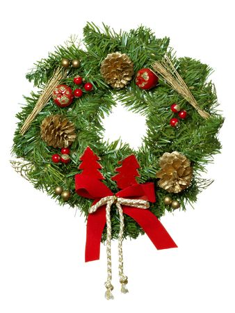 Christmas garland isolated on the white background.