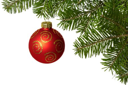 Christmas ball on branch isolated on the white background.