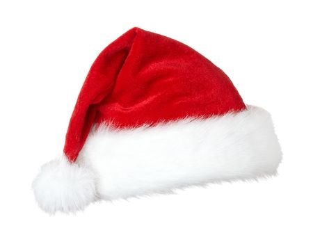 Red Santa Claus hat isolated on white.