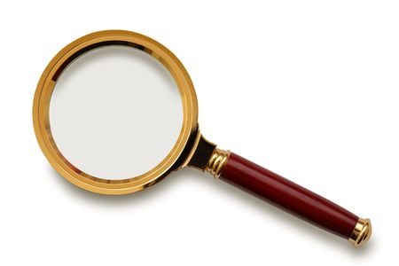 Retro magnifying glass isolated on the white background, clipping path included.