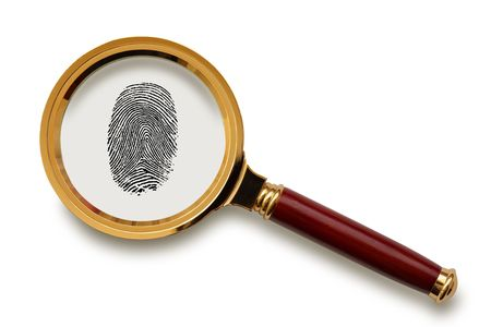 safety glass: Magnifying glass with fingerprint  isolated on the white background,