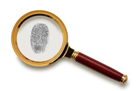 Magnifying glass with fingerprint  isolated on the white background
