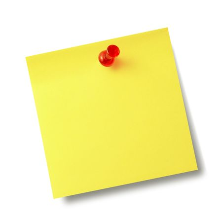 note paper pin: Yellow reminder note with red pin isolated on the white background.