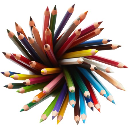 Colored pencils, isolated on the white background