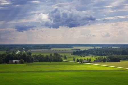 View over summer countryside landscape. Banco de Imagens