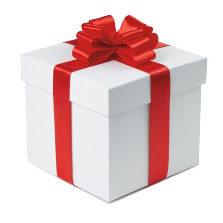 Gift box with ribbon end bow on the white background