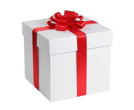 Gift box with ribbon end bow isolated on the white background