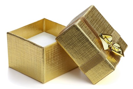 Open gift box with ribbon and bow