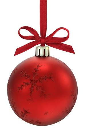 red sphere:  Christmas ball, hanging from a ribbon, isolated on the white background Stock Photo