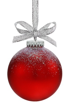 Christmas ball, hanging from a ribbon, isolated on the white background Standard-Bild