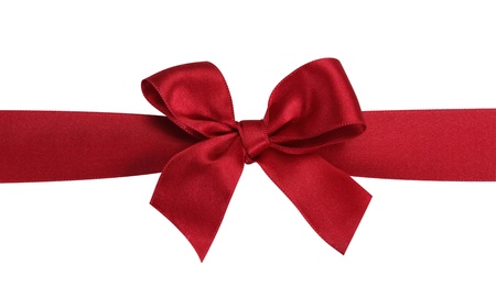 Red gift bow with ribbon isolated on the white background photo