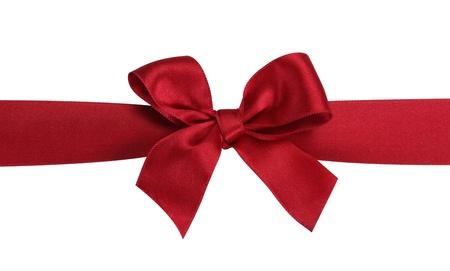 Rode gift bow met lint geïsoleerd op de witte achtergrond