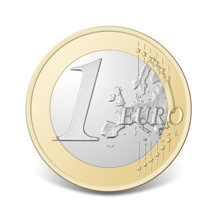 Één euro munt, geïsoleerd op de witte achtergrond, uitknippad opgenomen.