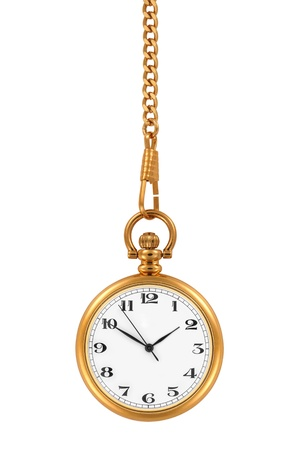 Gold pocket watch and chain, isolated on the white background Archivio Fotografico