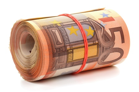 Roll of fifty euro banknotes with a rubber band, isolated on the white background, clipping path included. Full focus.