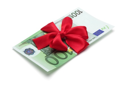 one hundred euro banknote: One hundred euro banknote with red bow, isolated on the white background, clipping path included.