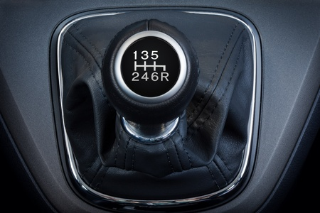 lever: Close-up of a  six speed manual gear stick. Stock Photo