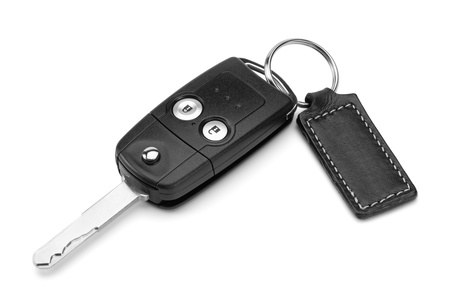 key chain: Car key, isolated on the white background