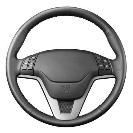 ruedas de coche: El volante, aislado en el fondo blanco