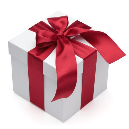 gift parcel: Gift box with red ribbon and bow, isolated on the white background, clipping path included. Stock Photo