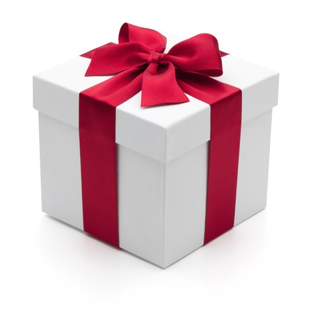 Gift box with red ribbon, isolated on the white background