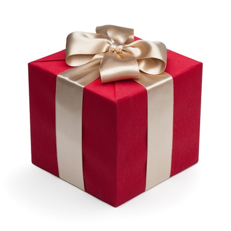 gift wrap: Red gift box with golden ribbon, isolated on the white background, clipping path included.