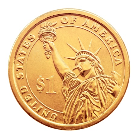 Golden one dollar coin, isolated on the white background. photo