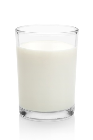 Glass of milk, isolated on the white background