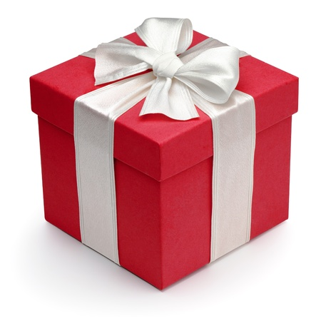 Red gift box with white ribbon and bow, isolated on the white background Archivio Fotografico