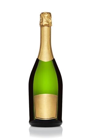 Fles champagne, geïsoleerd op de witte achtergrond,