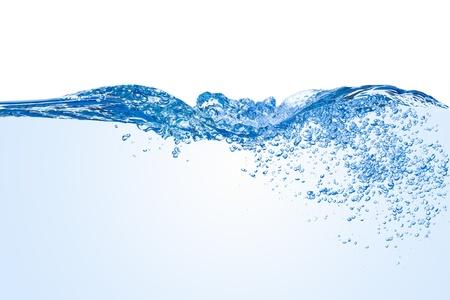 Water splash met bubbels van lucht, die op de witte achtergrond Stockfoto