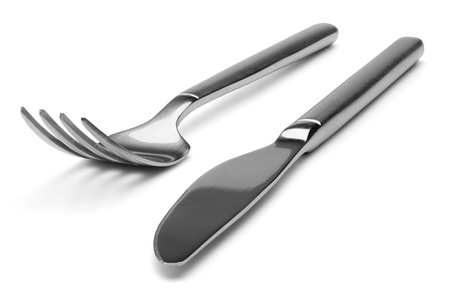 silver cutlery: Knife and fork, isolated on the white background, clipping path included