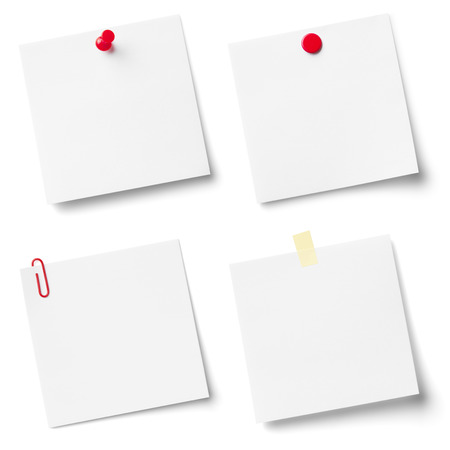 pinned: Collection of white note papers, isolated on the white background