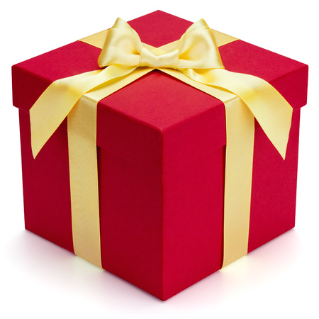 Red gift box with yellow ribbon and bow, isolated on the white background, clipping path included  photo