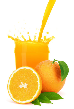 Orange juice pouring into a glass with splash, isolated on the white background, clipping path included  Stockfoto