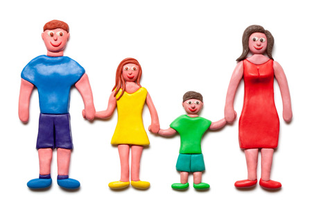 included: My happy family isolated on the white background  Plasticine  Clipping path included    Stock Photo