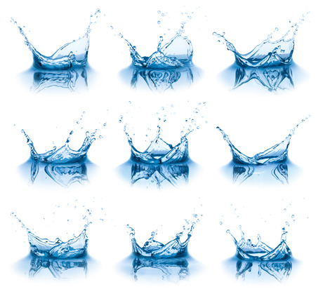 Collection of water splashes, isolated on the white background