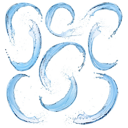 Set van water spatten, geïsoleerd op de witte achtergrond Stockfoto